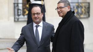 Frankrikes president  François Hollande och Tunisiens premiärminister Habib Essid.