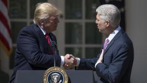 Den nyutnämnde domaren i Högsta domstolen i USA Neil Gorsuch skakar hand med president Trump