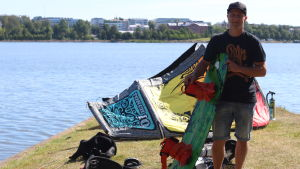 Andreas Bergendahl med surfkite