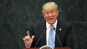 Republikanska partiets presidentkandidat Donald Trump talar efter ett möte med Mexikos president Enrique Peña Nieto i Los Pinos, Mexico City, 31 augusti 2016.