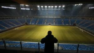 Vy över Zenits nybyggda fotbollsstadion i december 2016.