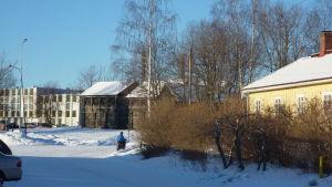 Vintrig bild av Dalsbruks centrum.