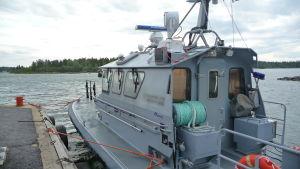 Patrullbåten vid Vallgrunds sjöbevakningsstation.