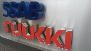 Skylt SSAB Ruukki huvudkontoret i Helsingfors