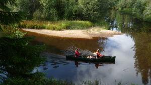 Henric Öhman och Sara Kåll paddlar längs Siiponjoki