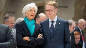 Christine lLagarde, IMF med Jens Weidman, ordförande för tyska Bundesbank