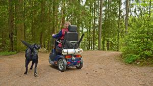 Arja Alho och assistenthunden Kalle på väg ner till stranden.