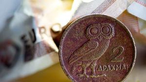 Grekiskt euromynt.