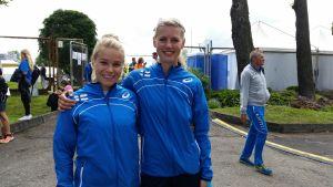 Aino Siitonen och Erica Hjerpe, U23-EM 9.7.2015.