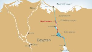 Den nya kanalen är 72 kilometer lång och ska förkorta väntetiden för fartygen som ska passera.