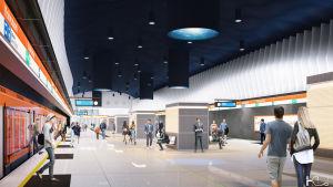 Arkitektens illustration av Björkholmens metroperrong.