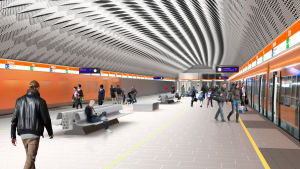 Arkitektens illustration av Mattby metrostation.