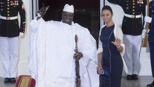 Gambias president Yahya Jammeh och hans hustru Zeinab Suma Jammeh på besök i Vita huset, Washington, sommaren 2014