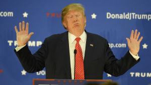 Donald Trump under ett valmöte i delstaten New Hampshire där han leder klart i opinionsmätningar inför primärvalet