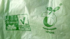 biohajoava muovikassi, kompostoituva-logo