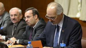 Syriens chefsförhandlare, FN-ambassadören Bashar al-Jaafari i Genève fredagen den 29 januari 2016