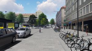 Taxin och cyklar på Köpmansgatan.