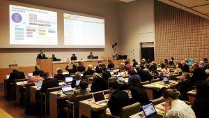 En fullmäktigesal med ledamöter sittande vid sina bord.