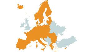 En karta över Schengenområdet.