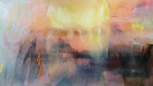 Detalj ur Margareta von Bonsdorffs målning Iris på Galleri Bronda 2016.