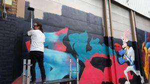 Graffititaiteilija työssään, Kerava, purkutaide, projekti, 2016, katutaide