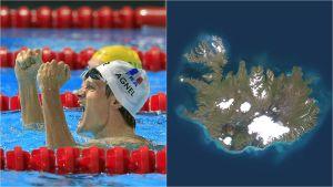 Simmaren Yannick Agnel och satellitbild av Island.