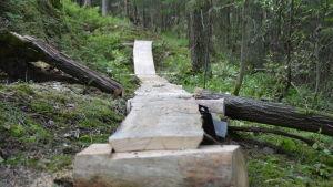 En spång för stiglöpning och terrängcykling längs en ny bana i  Fiskars.
