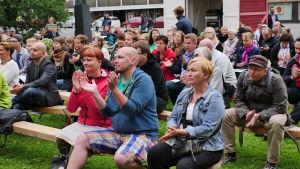 Publik på de grönas möte vid Suomiareena i Björneborg 2016