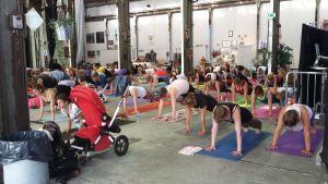 Människor som yogar.