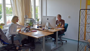 Valeria Gasik och Valtteri Wikström på bolaget Soundshade som har kontor i fd Maria sjukhus
