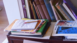 Hemma hos Ann Nymalm skriver hemvårdarna rapport i ett häfte som ligger framme i vardagsrummet.