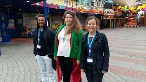 Julian Owusu, Emelie Weski och Sara Corneliussen på nordisk ungdomskongress i Finland.