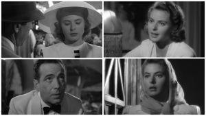 Ingrid Bergman hehkuu Orry-Kellyn puvuissa. Ruutukaappauksia elokuvasta Casablanca.