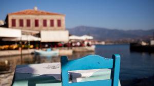 Hamnen i Mithymna (Molivos) på Lesbos.