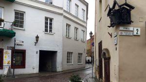 Hörnet av Judiska gatan och Stiklių i de gamla judiska kvarteren i Vilnius.