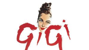 Gigi-elokuvan julistekuva. Kuvassa Leslie Caronin esittämän Gigin piirretyt kasvot.
