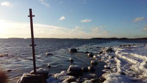 Utsikt från Saro udde över Erstan en kall vinterdag i januari.