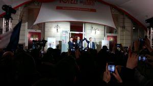 Manuel Valls, Jean-Christophe Cambadélis (partisekreterare) och Benoit Hamon.