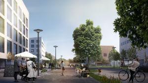 Arkitekternas vision över hur Kirstiparken kommer att se ut.
