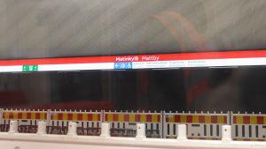 mattby metrostation sedd från tåget