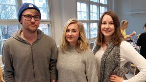 Aku Eerola, Kaisla Koivisto och Milla Ruuska.