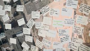 invånarna har fått skriva in sina åsikter på en karta över Borgå centrum