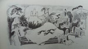 Tove Janssons teckning av sovande som drömmer mardrömmar