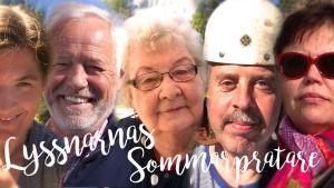 De fem finalisterna i Lyssnarnas sommarpratare 2017