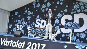 Sverigedemokraternas partiledare Jimmie Åkesson håller vårtal på Långholmen 6.5.2017.