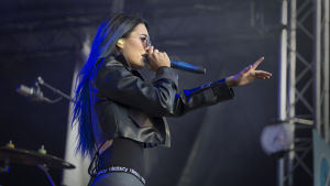 Finnish female singer Sanni on the stage