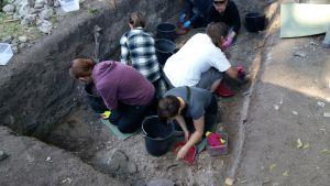Fem frivilliga gräver försiktigt fram det medeltida Åbo i en grop På museet Aboa Vetus & Ars Novas gård,