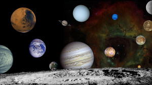 Kollage av planetbilder som Voyagersonderna har tagit.