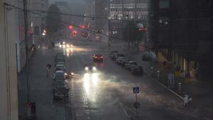 Runebergsgatan i Helsingfors under stormen Kiira.
