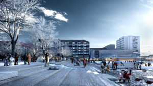 Visioner för Salutorget i Åbo. På bilden syns toget i vinterlandskap med en skridskorink mitt på torget.